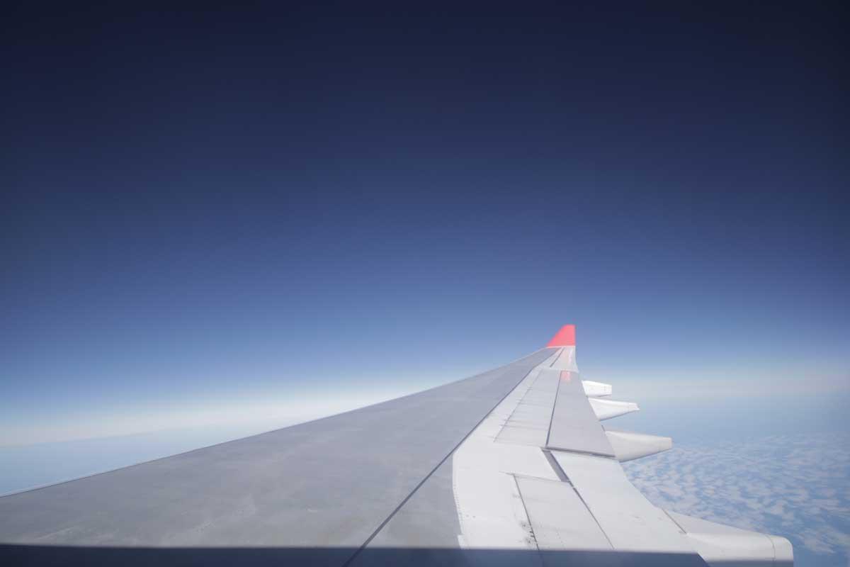 Uitzicht over vleugel